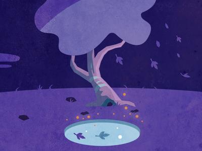 Till Morning geometric simple minimalist adventure nature tree blue purple illustration design game