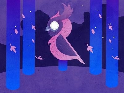 Great Owl (Till Morning) game simple mystic purple owl relaxing nature minimalist illustration geometric design animation