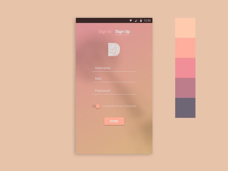 Daily UI / Sign Up vector minimalist simple daily 100 challenge cozy pink digital colors signupform signup uidesign mobile 001 dailyui