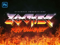 80s Fire Text and Logo Effect PSD Template music cover synth vapor retrowave retro synthwave 1980s flames metal fire 80s title 3d typography template text styles text effect logo psd mockup