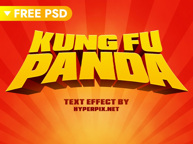 Kung Fu Panda Cartoon Text Effect typography text styles text effect template movie kung fu panda game 3d title animation design free photoshop mockup psd logo mock-up freebie download cartoon