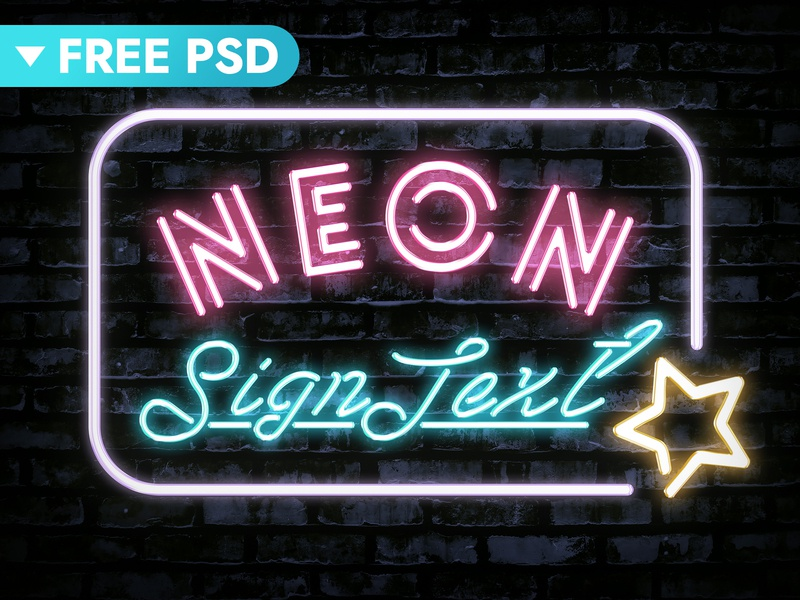 Neon Text Effect freebie free glow lettering nightclub 80s neon colors neon light neon design title typography text styles text effect template logo psd download photoshop mockup