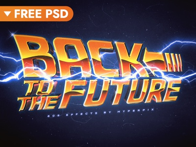 [FREE DOWNLOAD] Back To The Future Text Effect retro vintage futuristic synthwave 1980 80s free freebie cinematic movie design title 3d typography text styles text effect logo psd download mockup