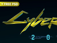 Cyberpunk 2077 Text Effect [FREE Download] 3d typography poster future intro title game freebie free hyperpix cyberpunk typography template text styles text effect mock-up photoshop logo psd download mockup