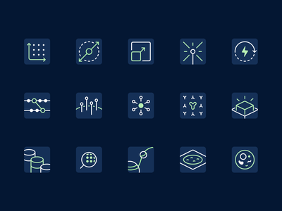 10x Genomics - Dark Icons blue feature product page bullet biology illustration biotech dark icons