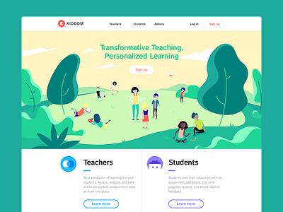Kiddom Homepage marketing edtech kiddom education colorful layout ui web