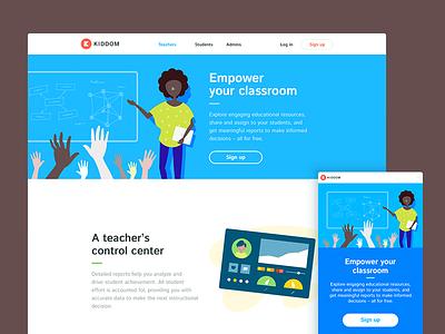 Kiddom Teachers kiddom edtech education colorful layout marketing classroom teacher ui web