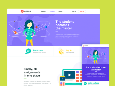 Kiddom Students web ui marketing layout edtech colorful education student