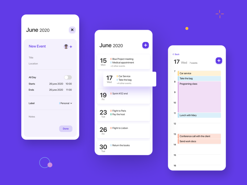 Calendar app calendar 038 mobile app design mobile productdesign dailyui ux ui