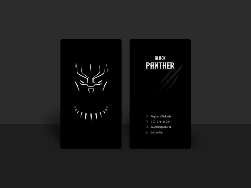 Black Panther business card warmup vector design