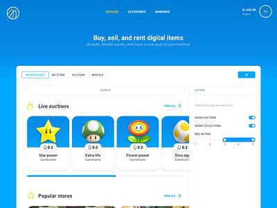 Scatter Marketplace with Filters dashboard crypto scatter sketch app website site desktop navigation marketplace market nft