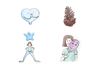 once in a while I still get to do fun stuff design crypto scatter sketch kyc identity woman star pinecone heart cute illustrations