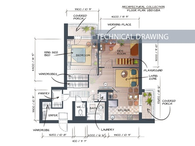 Two Bedrooms Dribble illustration architectural apartment plan technical drawing hand drawn sketch rendering vector floor plan design interior