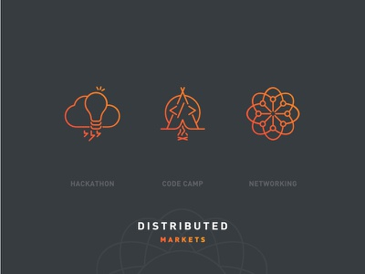Distributed Markets 2018 – Icon Set branding icon crypto design events markets distributed blockchain cryptocurrency illustration bitcoin