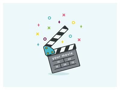 Video Clapper tutorial magic stars line-art video clapper video flat illustration