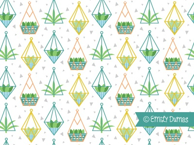 Planter Pattern illustrator vector emily dumas hanging plants geometric planters plants repeat pattern pattern
