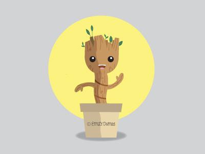 I Am Groot tree emily dumas vector illustration pop culture guradians of the galaxy groot