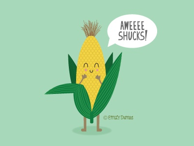 Aweeee Shucks! food pun funny punny pun vector emily dumas vegetable corny pun corn