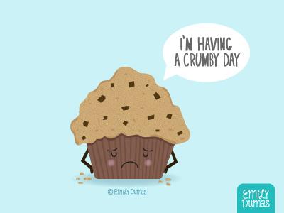 Crumby vector emily dumas muffin food art foodpun funny punny pun