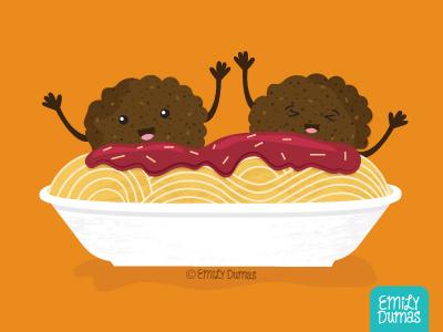 Meatballs emily dumas food illustration cute sauce meatballs pasta illustrator illustration vector