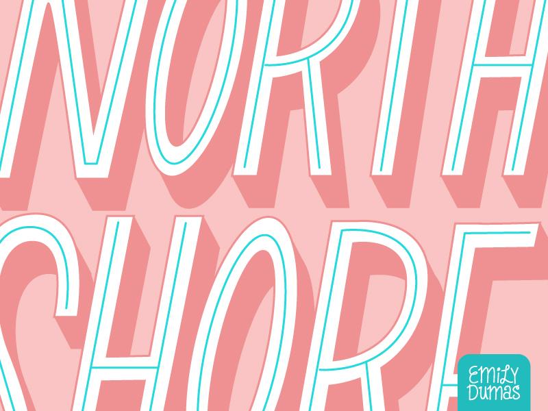 North Shore (Detail) emily dumas pink not a font north shore detail handlettering lettering vector illustrator