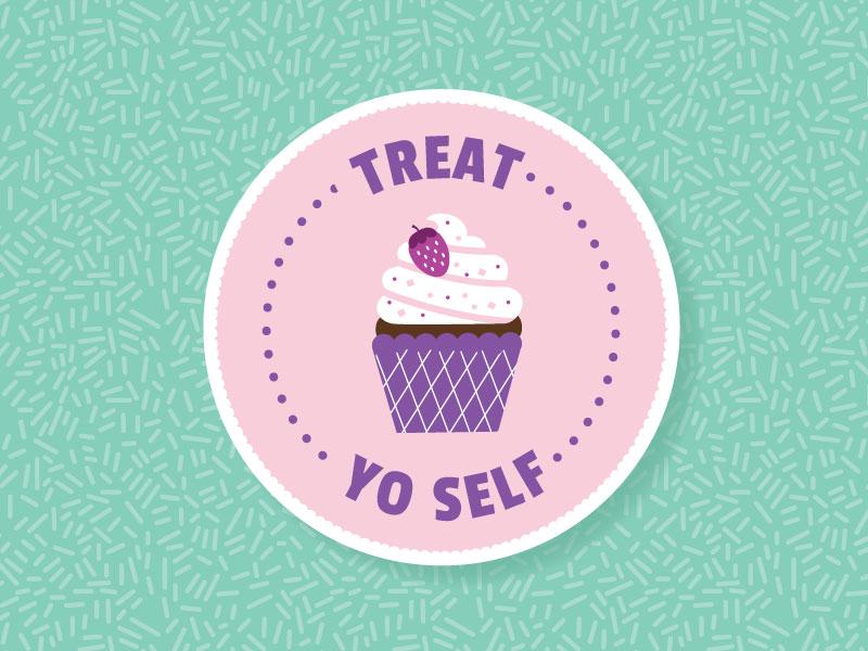 Treat Yo Self emily dumas sprinkles frosting purple pink pastel treat yo self cupcake vector illustrator