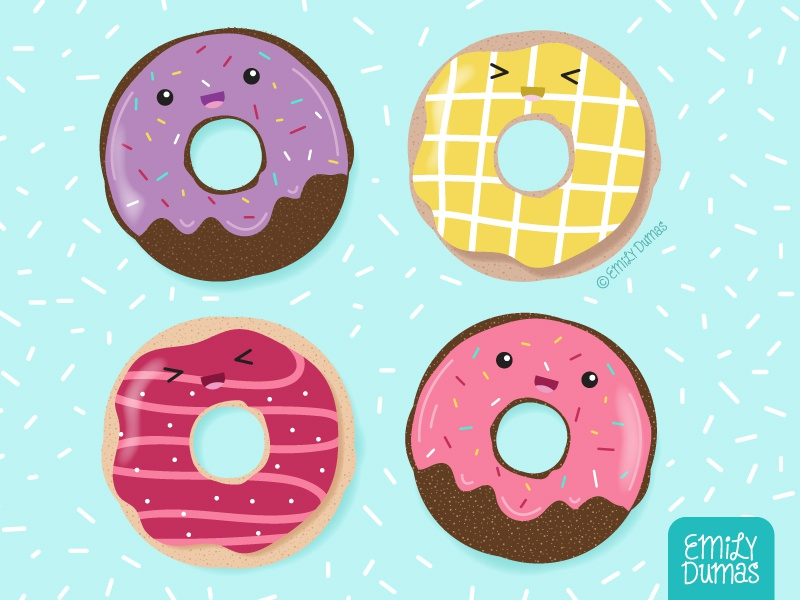 Donuts food illustration donuts frosting sprinkles emily dumas vector illustrator