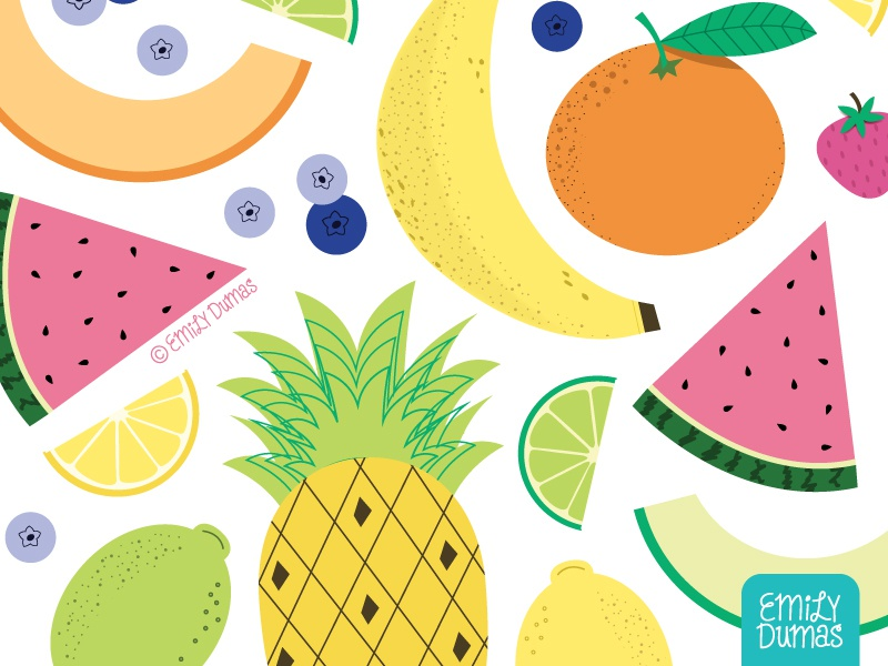 Fruits orange lime banana watermelon pineapple fruit food illustration emily dumas vector illustrator