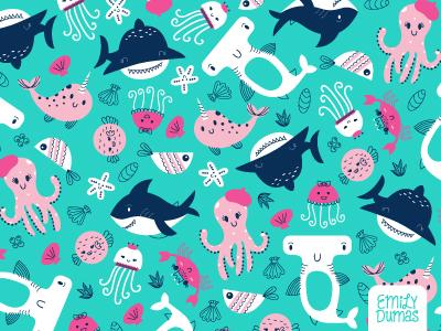 Sea Pattern jellyfish shark under the sea nautical repeat pattern surface design pattern illustrator emily dumas illustration vector