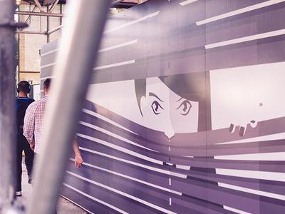 Peep toronto illustration momochrome minimalist portrait vector construction hoarding mural street art