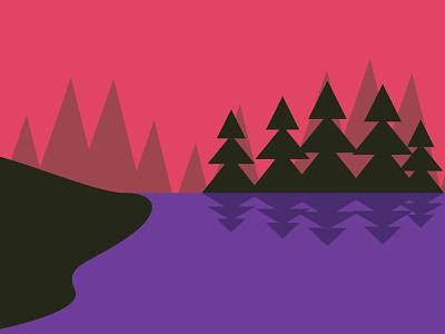 Landscape Jamming trees sunset fishing lake landscape vignettes minimal geometric vector illustration