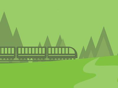 Landscape Jamming II trees hills train park landscape vignettes minimal geometric vector illustration