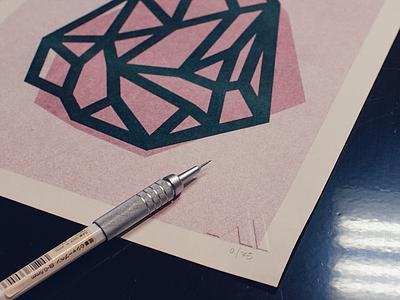 Crystal #2 Risograph Print screenprint risograph facets crystal geometric poster art print design minimalist illustration vector