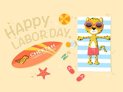Happy Labor Day ! relax newsletter graphic design visual design beach cheetah labor day