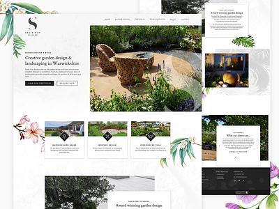 Sadie May Studios homepage design gardenscapes homepage design navigation branding illustration design web design