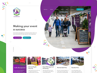 CJ's Event homepage design ux design homepage header business homepage design web design