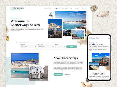 Cornerways Guest House - homepage and mobile design travel ux branding illustration homepage design web design