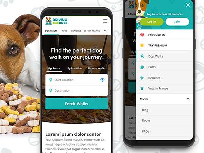 Dog Walking Website Design dogs dog walking navigation mobile interface ux ui web design