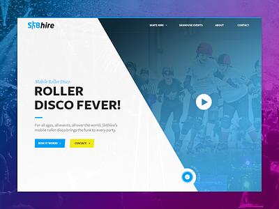 Skating website header funky website design ui design full screen video header ux ui skating web design