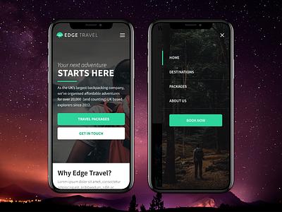 Backpacking Travel Design Concept hamburger navigation mobile website backpacking travel interface ui web design design