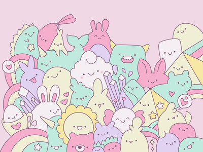 Kawaii Drawing kids cute design cute characters cute adorable cheerful pastels cute animals pastel colors drawing smiles smiley doodle doodle art kawaii kawaii faces kawaii art cute art cute illustration illustration