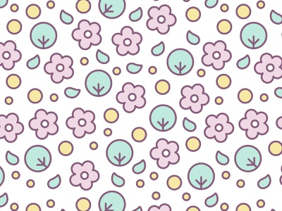 Floral Seamless Pattern with Cute Pastel Flowers illustration background trees flowers kawaii cute pastel vector pattern seamless pattern
