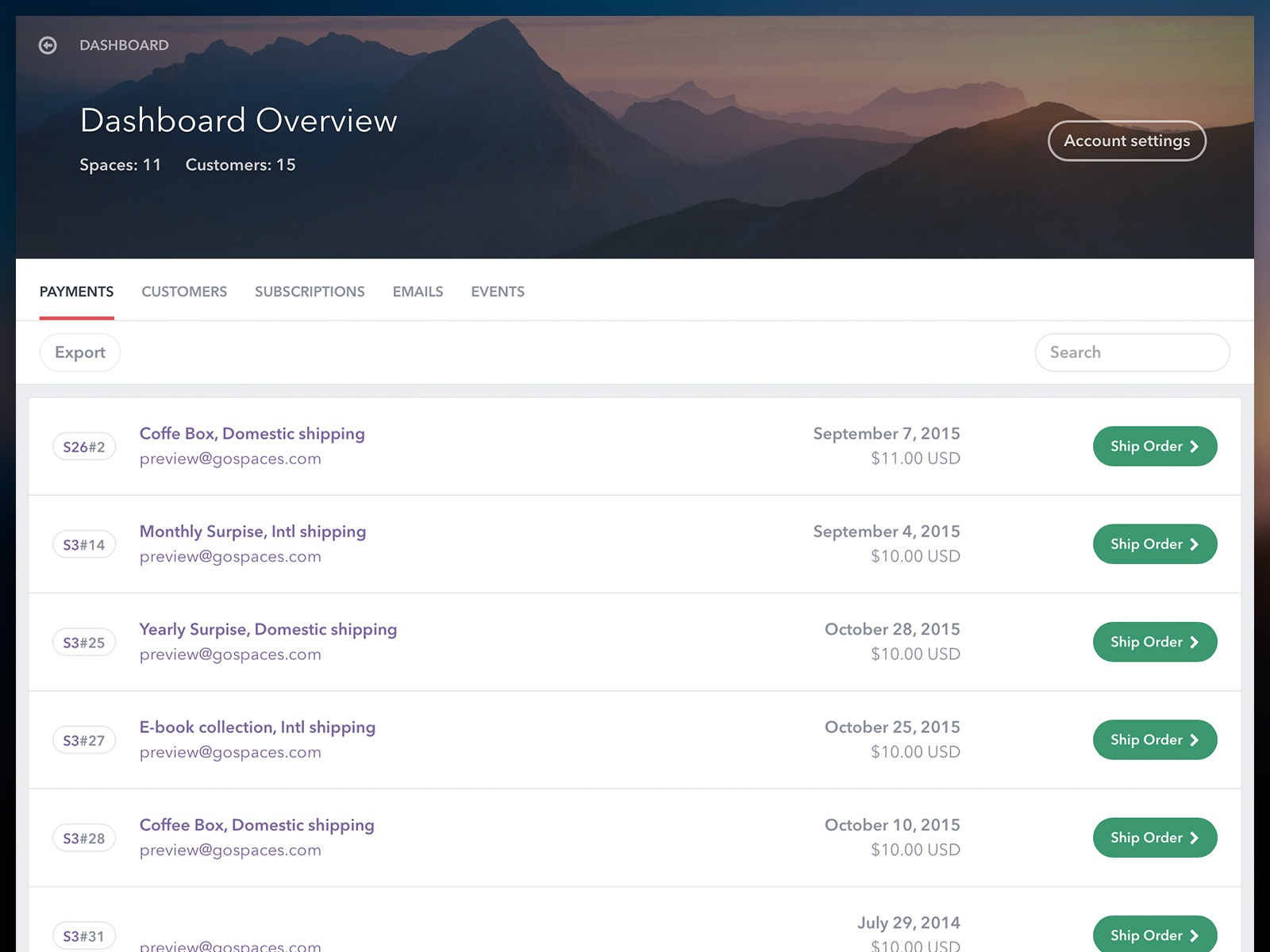 Spaces dashboard before