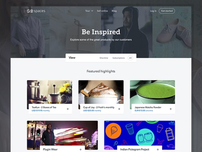 Be Inspired - Spaces products marketplace header