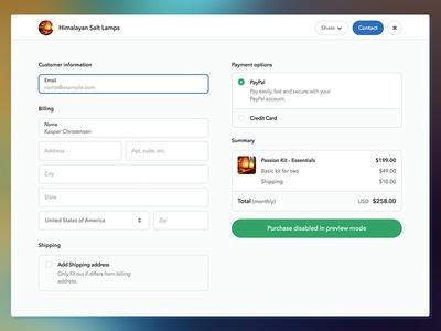 Wip Spaces Checkout Update payment billing input ecommerce form checkout
