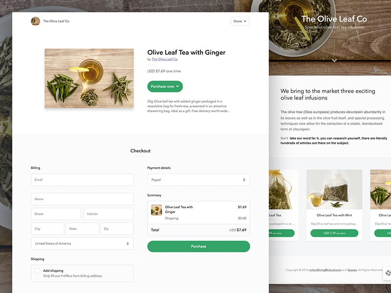 Spaces - One Step Checkout header product payment billing shipping form landing page spaces checkout