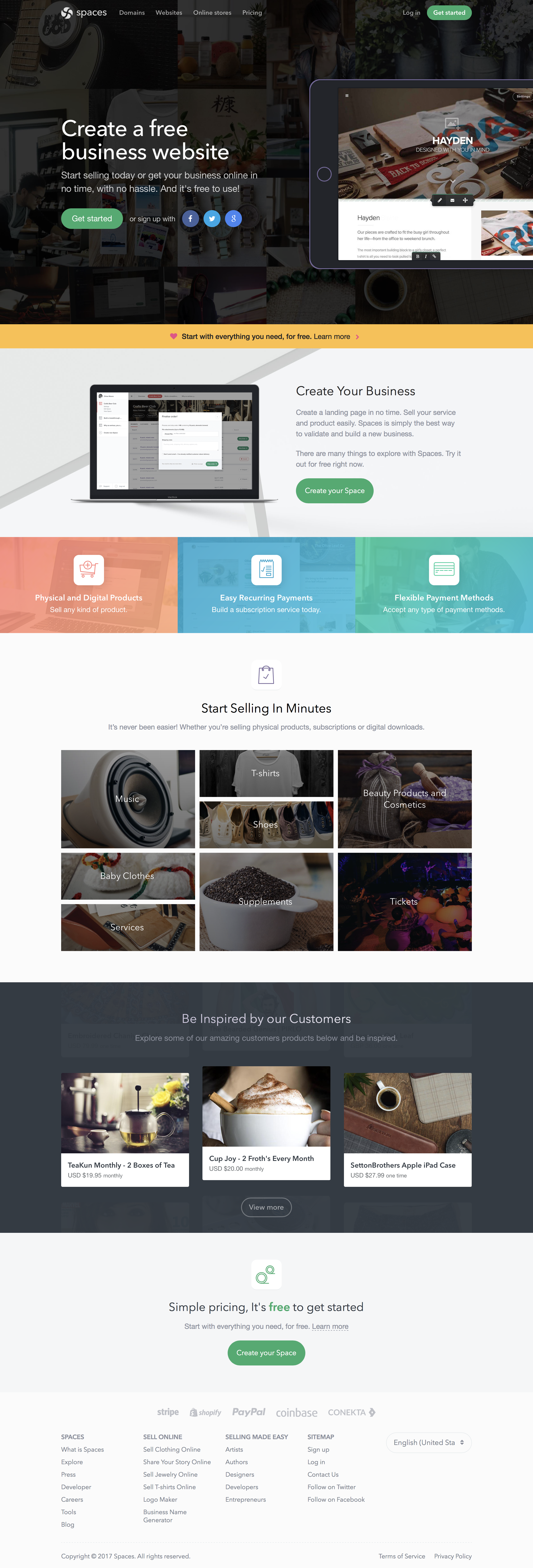 Spaces frontpage full