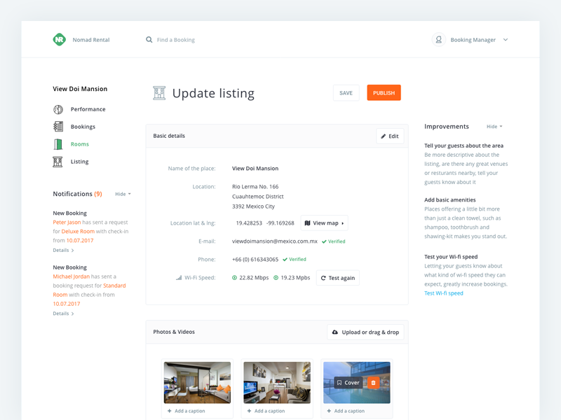 Nomad Rental / Admin - Listing View ux navigation sidebar form listing hotel dashboard white clean backend admin