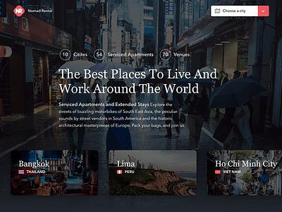 Nomad Rental - Redesign vertical scrolling listing hotel homepage header frontpage form footer brochure booking animation
