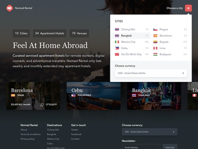 Nomad Rental - Feel At Home Abroad vertical scrolling listing hotel homepage header frontpage form footer brochure booking animation